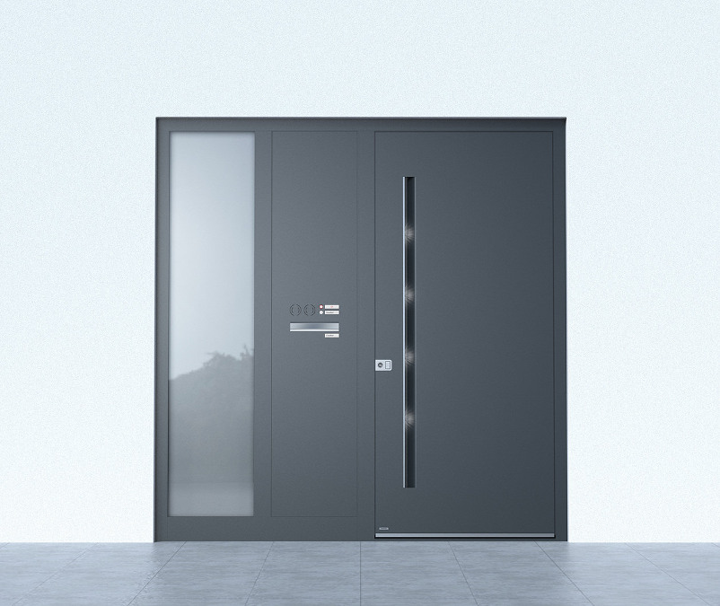 Haustüren Aluminium Grau