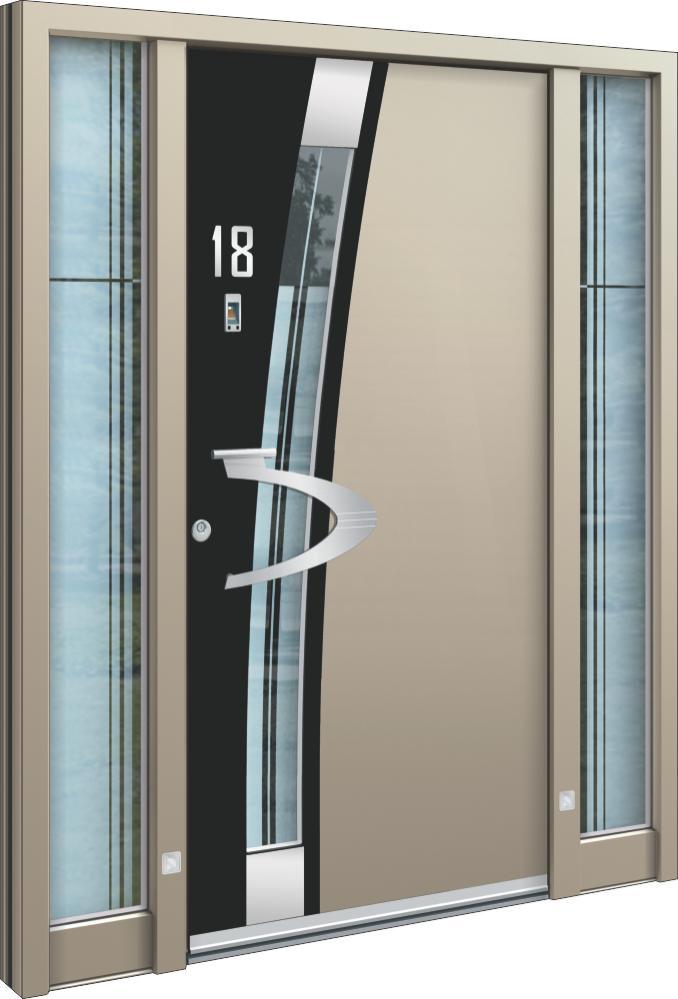 Moderne Aluminium Haustür mit Seitenteil